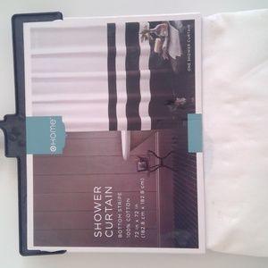 NEW black &white striped shower curtain - $15